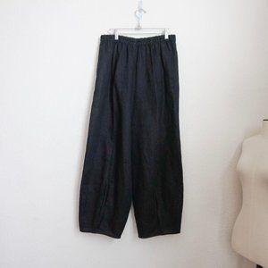 IC black Linen Balloon Leg Pull-On Pant